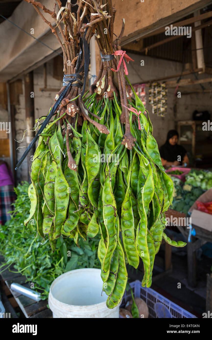 Jimbaran, Bali, Indonesien.  Petai oder Pete, Bohnen, auch bekannt als bittere Bohne, stinken Bohnen oder verdreht Stockbild