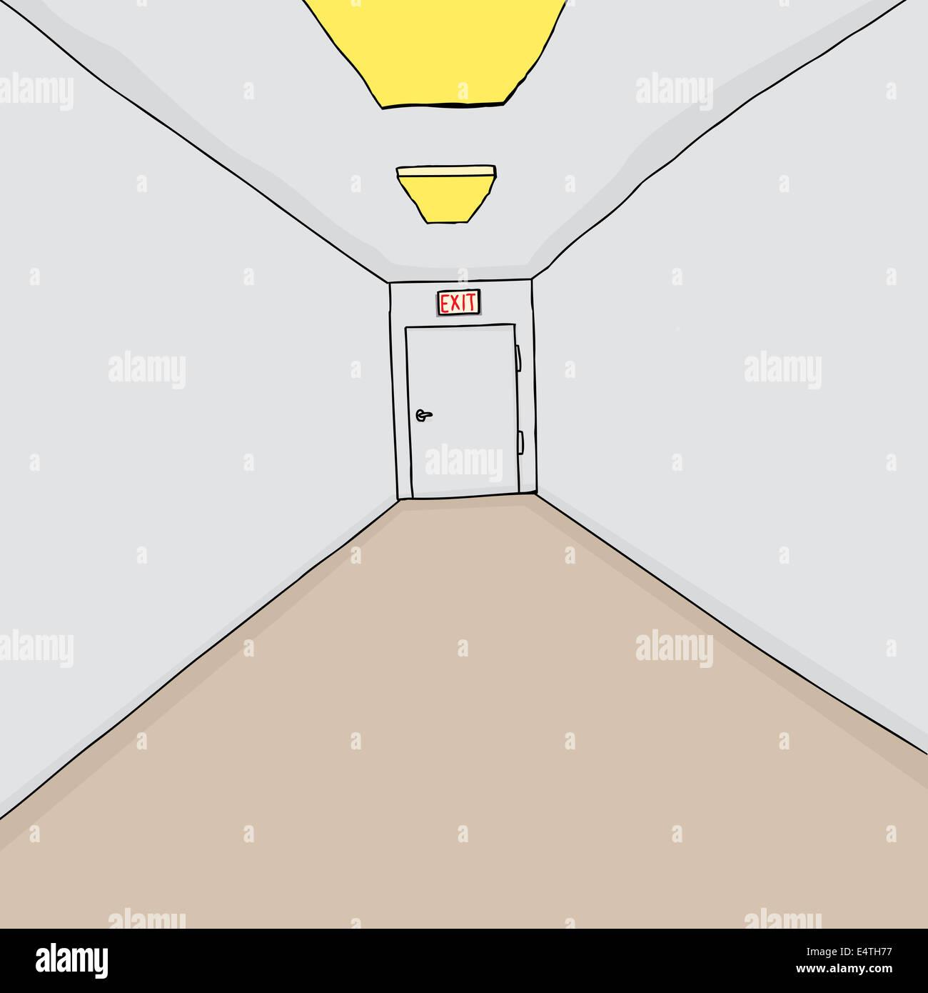 handgezeichnete cartoon flur hintergrund mit einzelnen ausgang stockbild