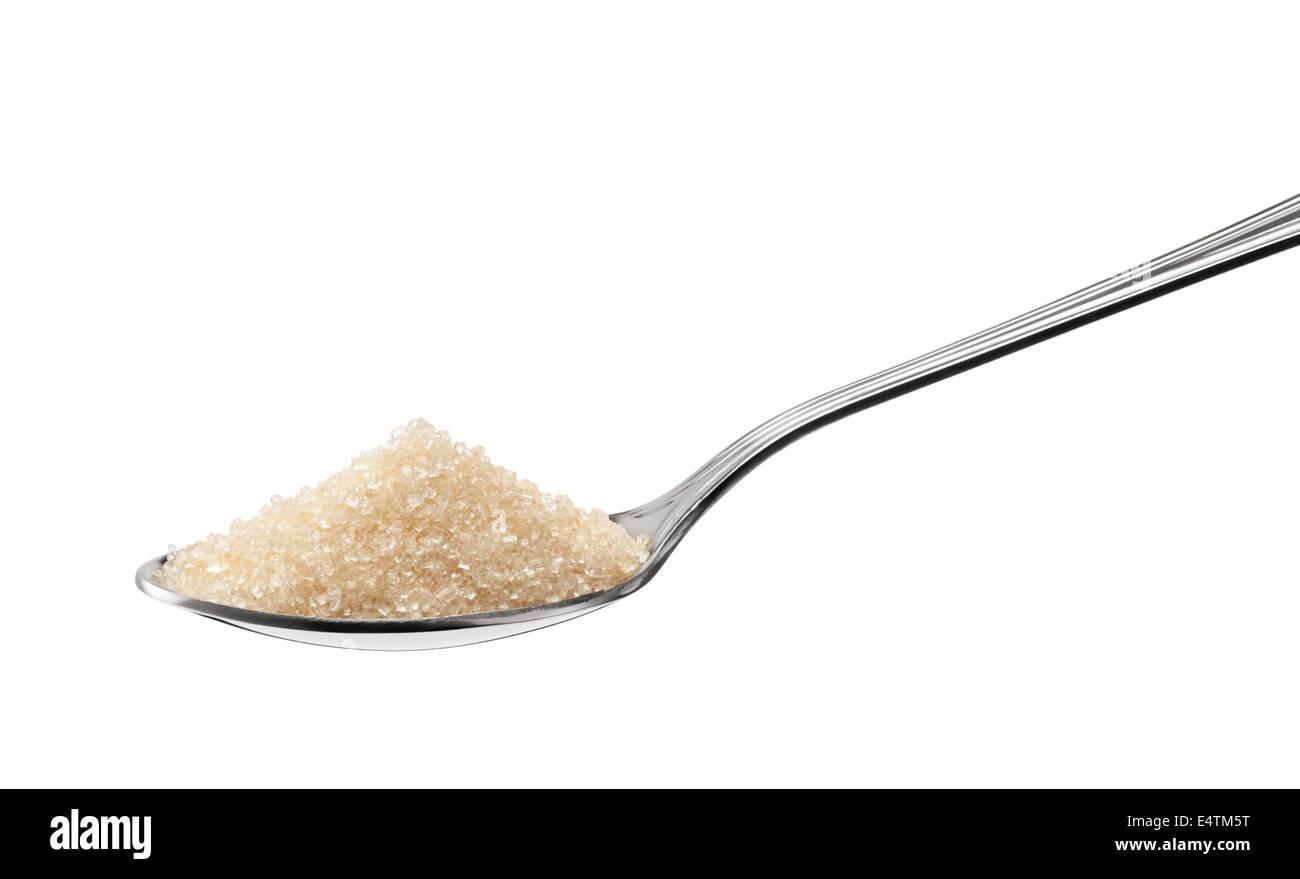 Haufen von braunem Zucker auf TL isoliert auf weiss Stockbild