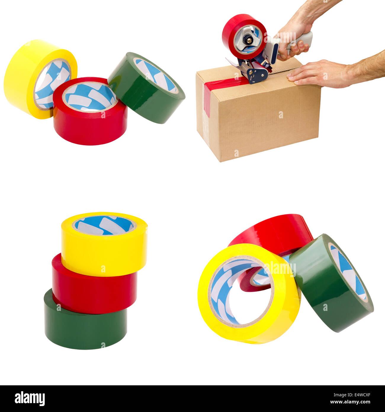 Satz von vier Bildern von Verpackungsmaterialien Stockbild