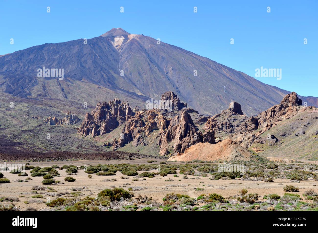 Mount Teide Vulkan Nationalpark mit Lava Flow und Collapes Caldera im Vordergrund, Teneriffa Stockbild