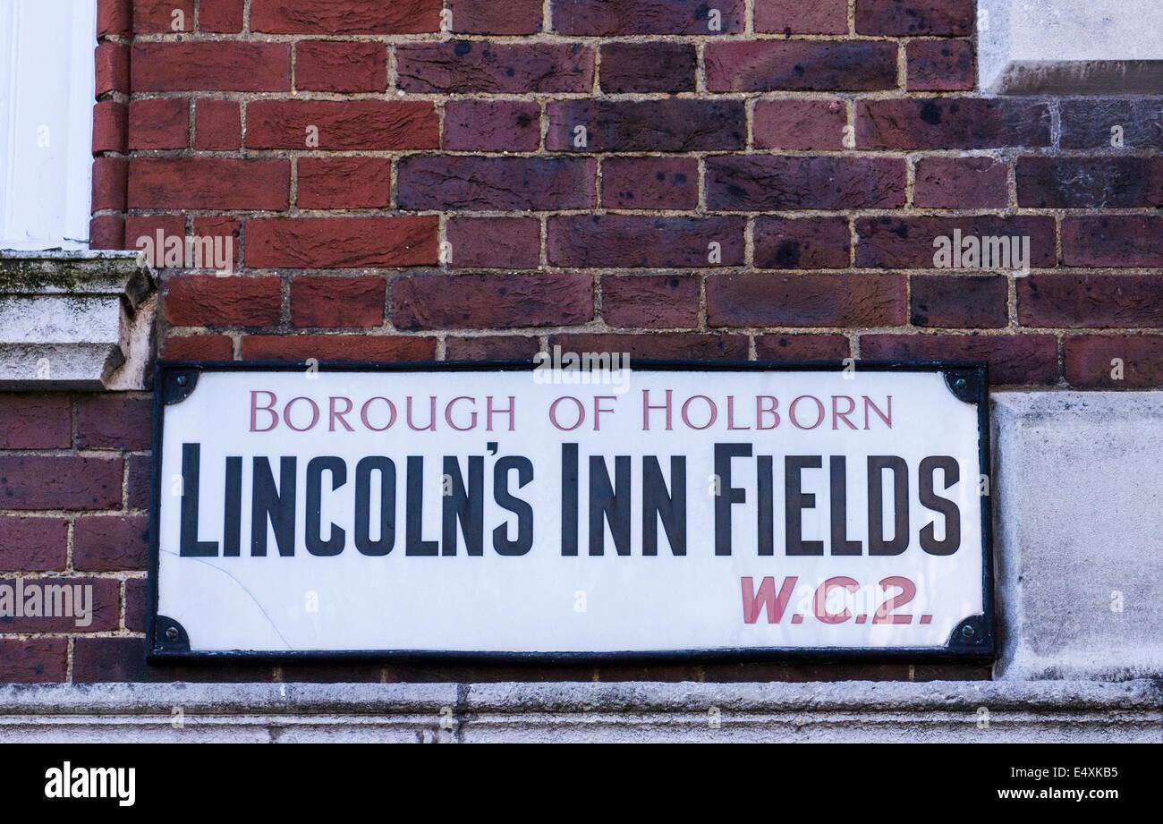 Lincolns Inn Felder Straßenschild - London Stockfoto
