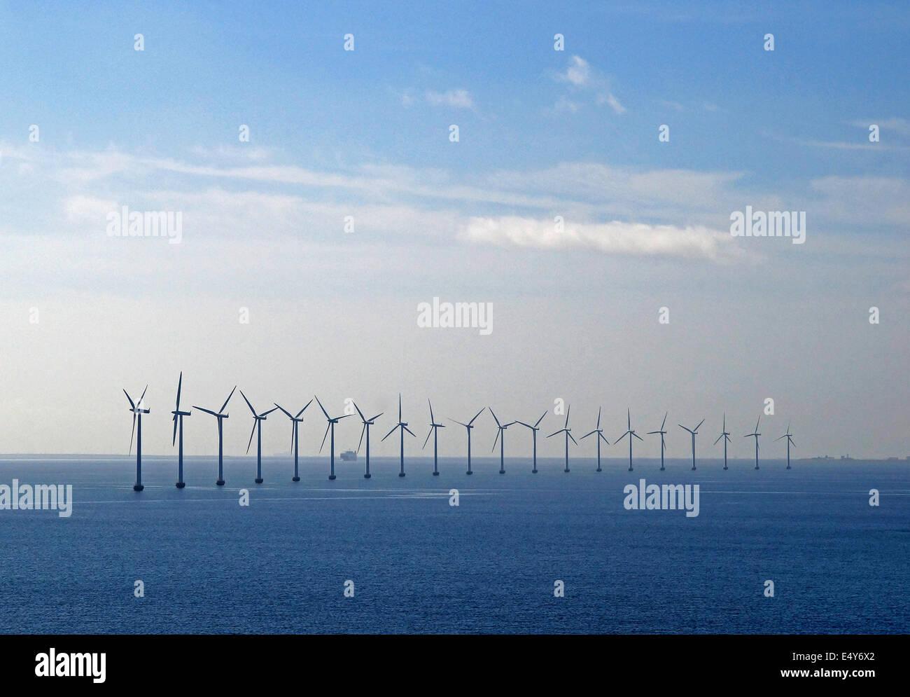 Offshore-Windpark Dänemark Stockbild