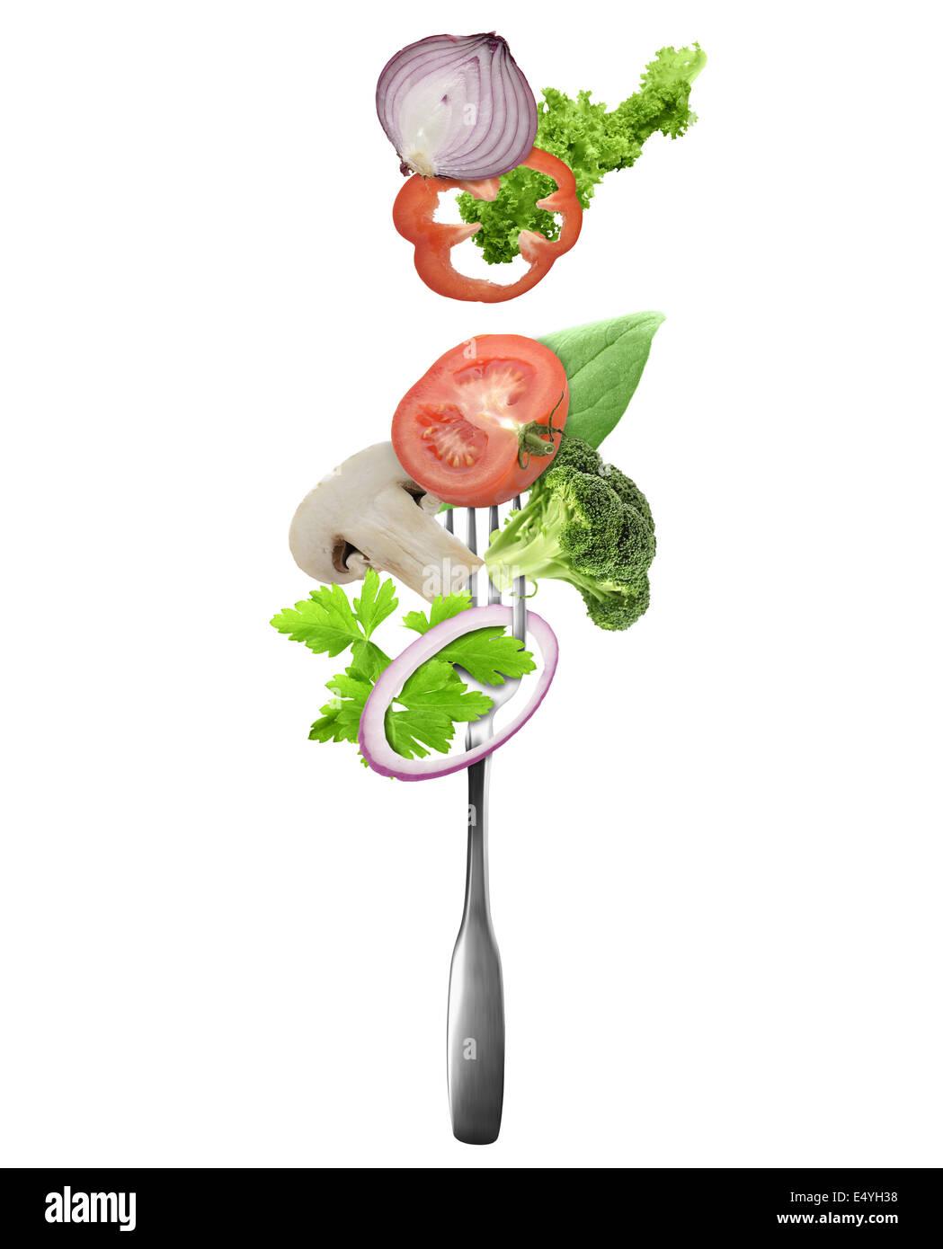 Frisches Gemüse auf einer Gabel Stockbild