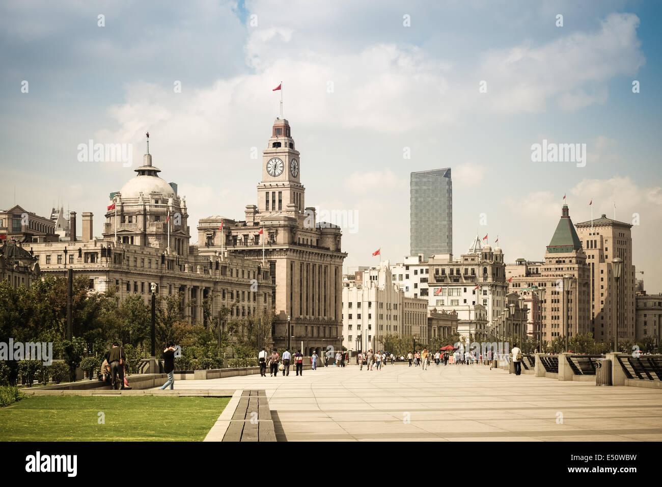 Stadtbild von dem Bund in shanghai Stockbild