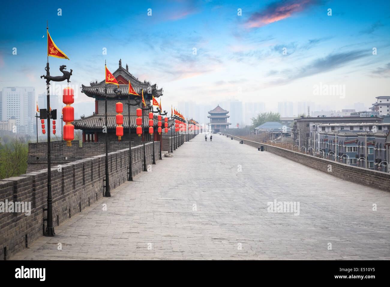 schöne Altstadt von Xian in der Abenddämmerung Stockbild