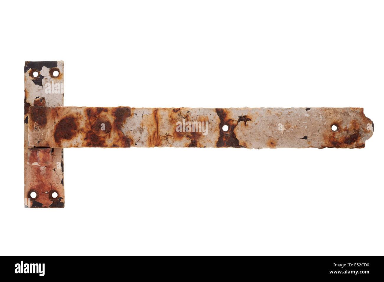 alte bemalte rostigen tor scharnier auf weißem hintergrund stockfoto