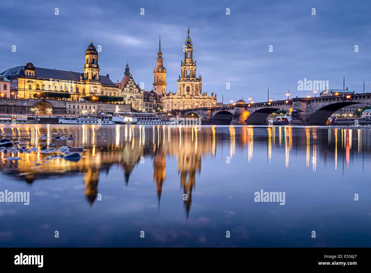 Dresden, Deutschland Stadtbild an der Elbe. Stockfoto