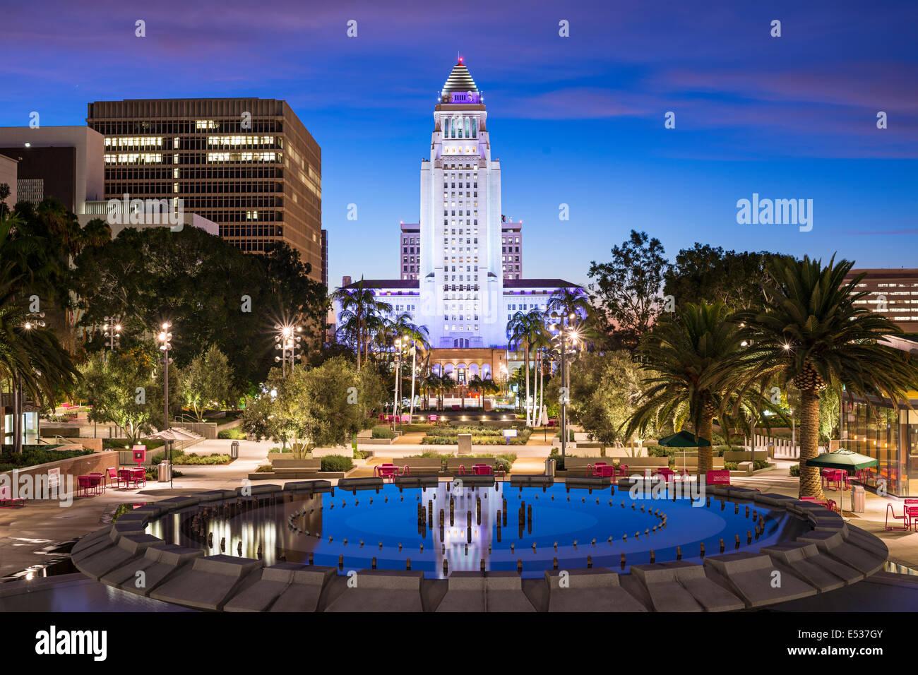 Los Angeles, Kalifornien, USA Innenstadt am Rathaus. Stockbild