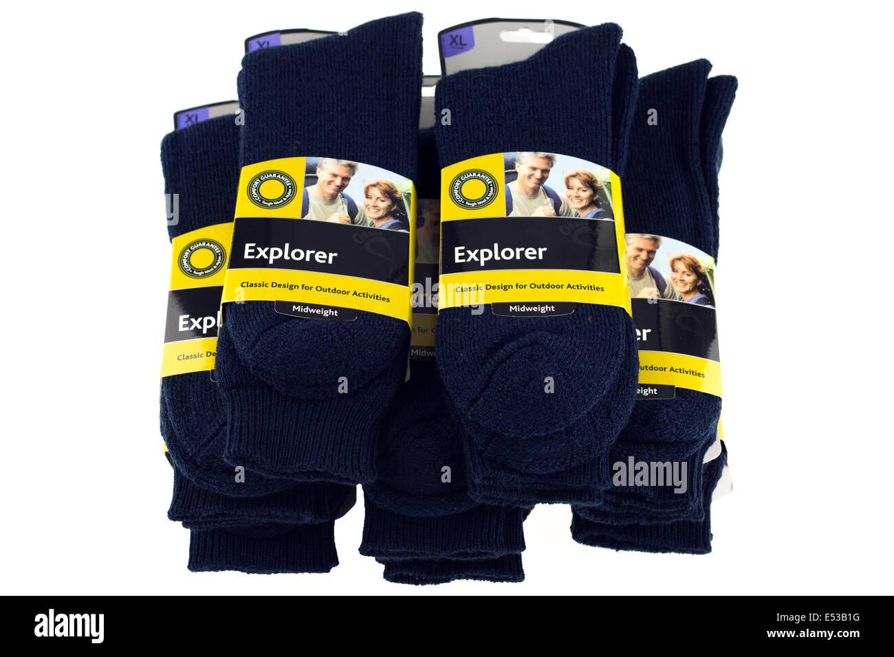 Haufen von blauen großen Mens Bridgedale Explorer Paar Socken Wolle und nylon Stockbild