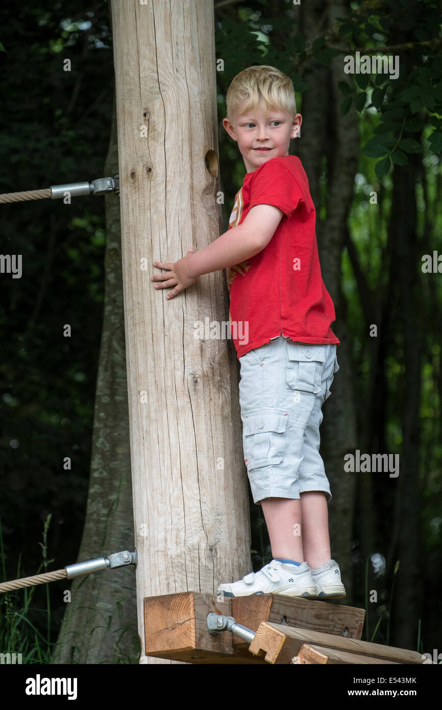 Jungen im Alter von sechs Jahren verhandelt Hindernis am Abenteuerspielplatz Stockbild