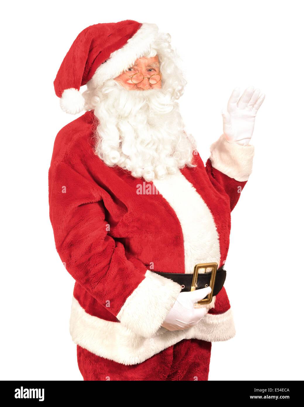 Santa Claus schwenkte seine Hand auf weißem Hintergrund Stockbild