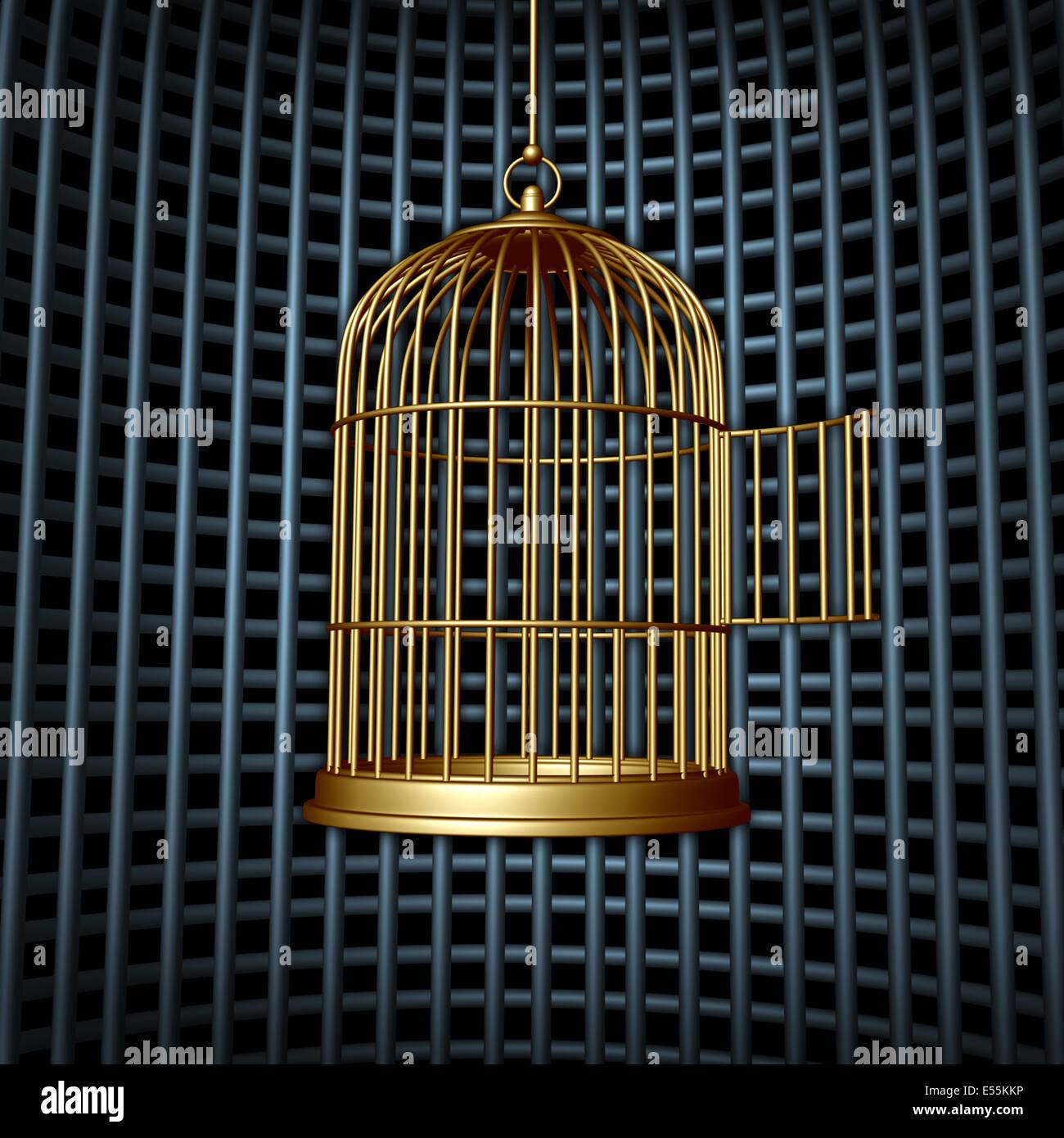 Falsche Freiheit und begrenzte Freiheit Konzept als eine offene Vogelkäfig in einen größeren Käfig Stockbild
