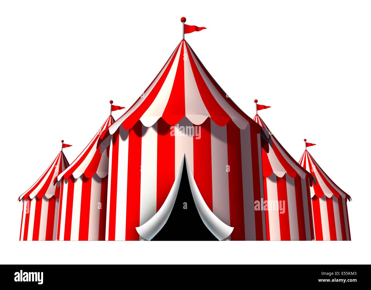 Zirkus Zelt Design-Element als eine Gruppe von Zirkuszelt Karneval Zelte mit Öffnung Eingang als eine lustige Stockbild