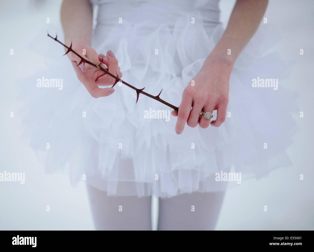 Ballerina mit Dorn Zweig im Schnee Stockbild