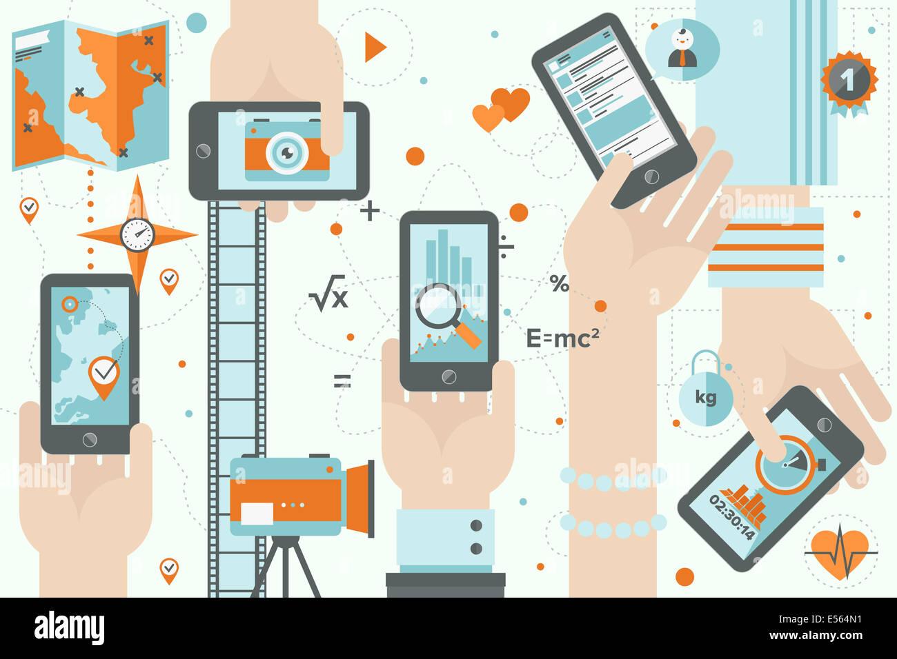 Flaches Design Illustration Konzept der verschiedenen mobilen Anwendungsnutzung in Wirtschaft, Sport, soziale und Stockbild