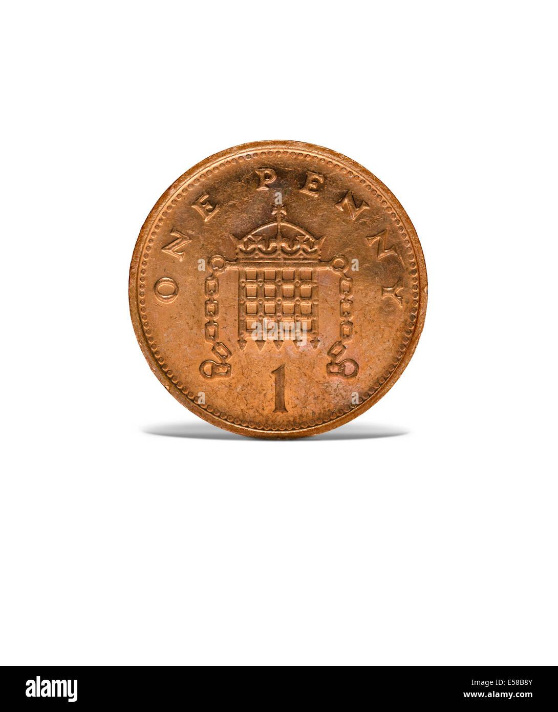 Vorne auf Aufnahme einer alten einen Cent-Münze Stockbild