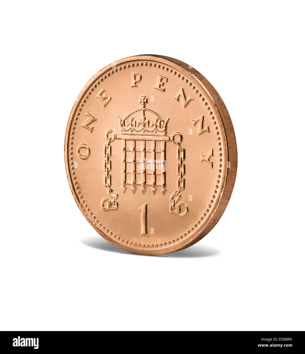 Eine neue 1 Cent-Münze Stockbild