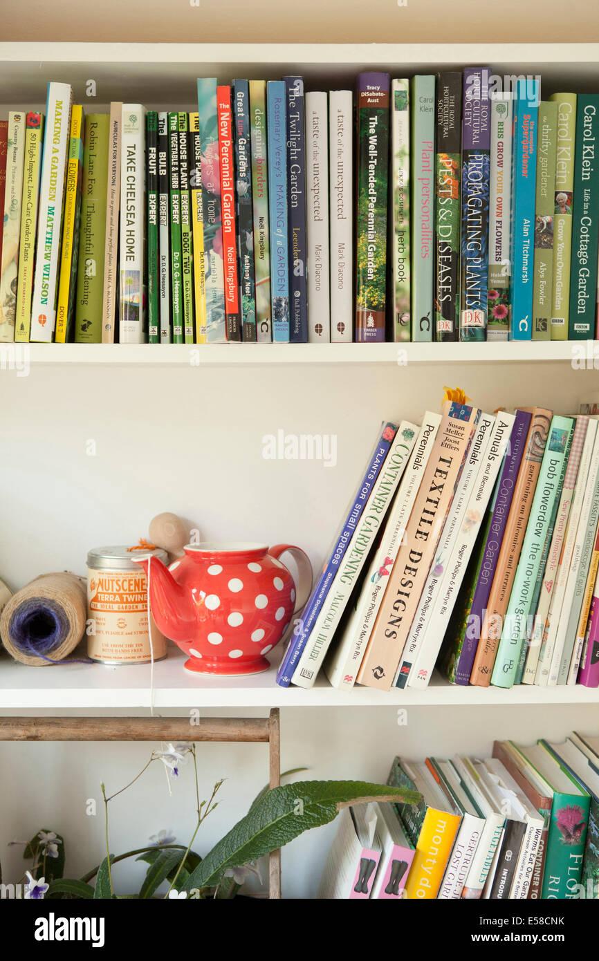 Bücherregal in der Heimat des Schriftstellers Laetitia Maklouf, London, UK Stockbild