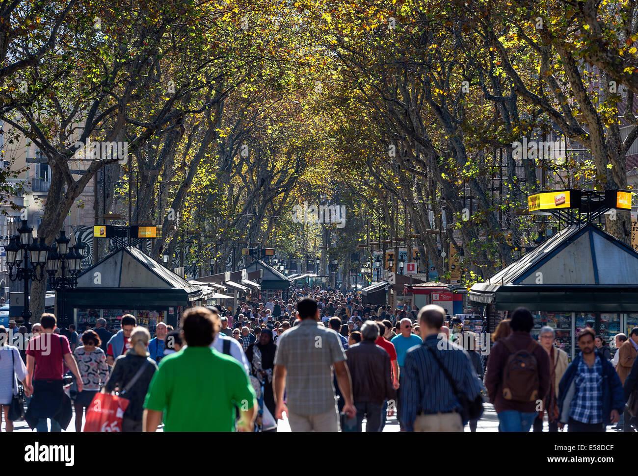 Touristen und Spanier drängen die beliebte Gegend von La Rambla, Barcelona, Spanien Stockbild