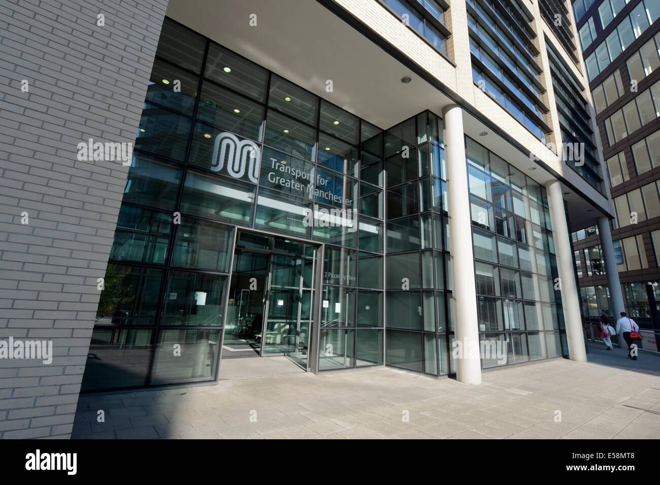 Der Eingang zum Hauptsitz Niederlassungen für den Transport für Greater Manchester (TfGM), ehemals GMPTE Stockbild