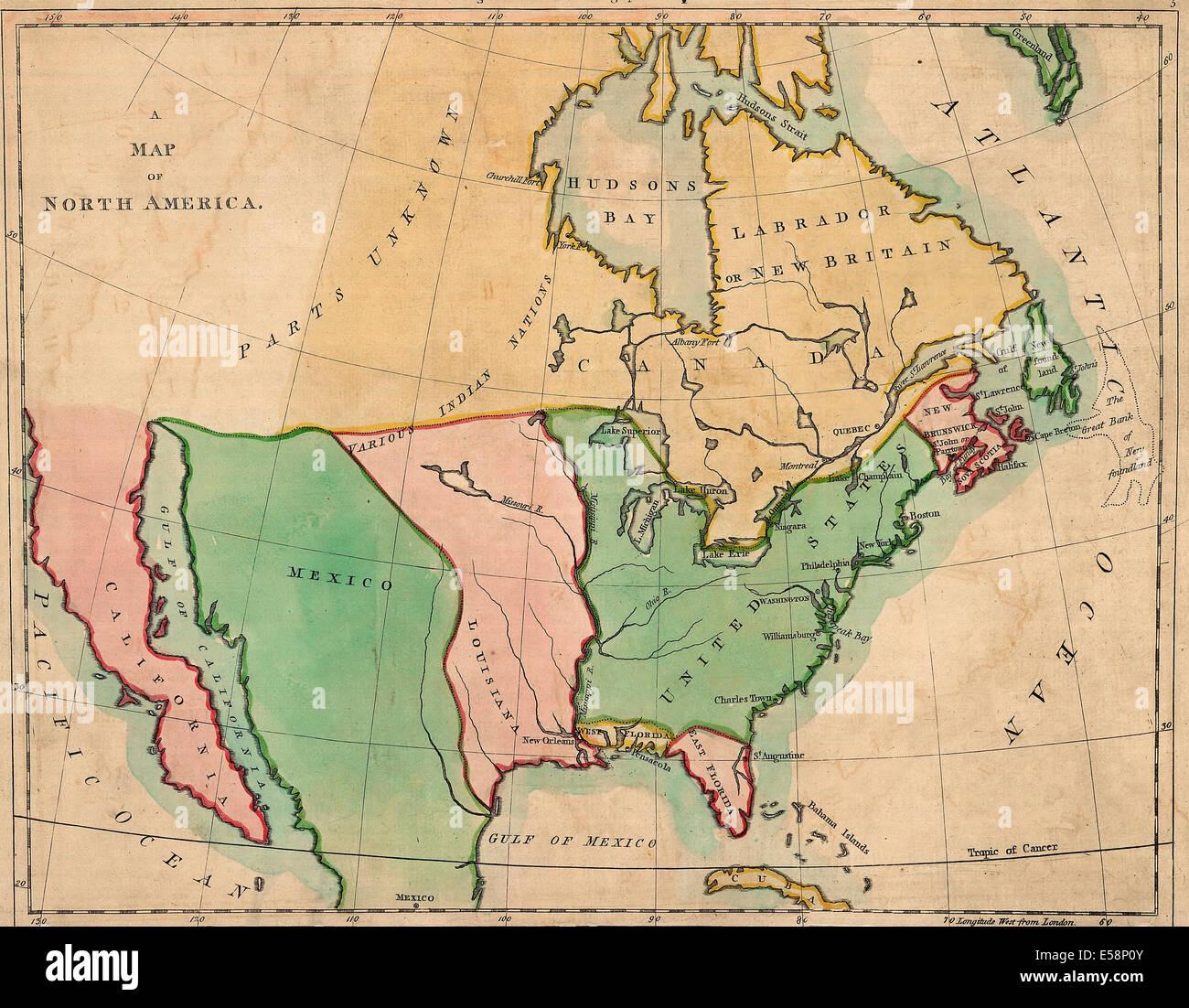 Eine Karte von Nordamerika; Überblick über Nordamerika, in der Karte entsprechen. 1803 Stockbild