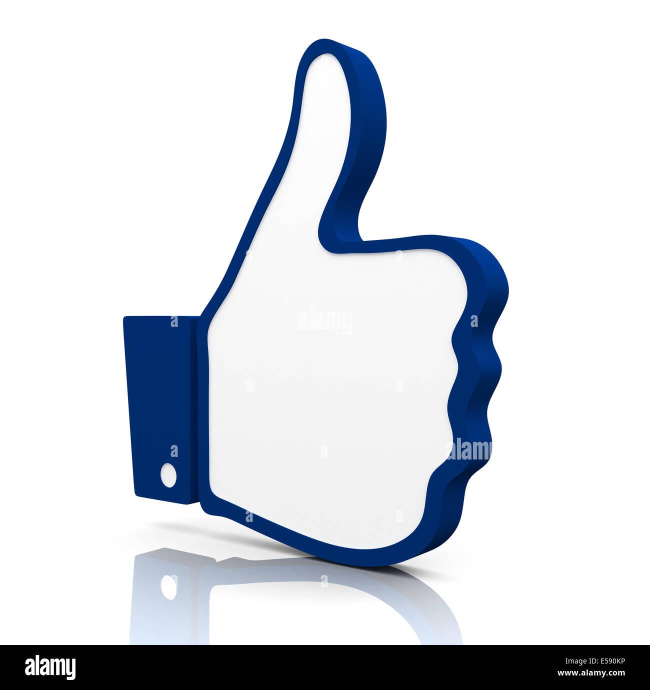 3D gerendert Symbol einer Hand mit dem Daumen oben. Stockbild
