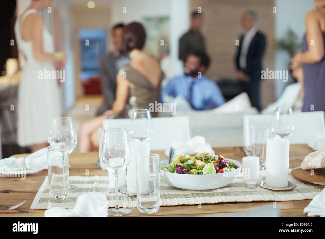 Dinnerparty Tabelle festgesetzt Stockbild