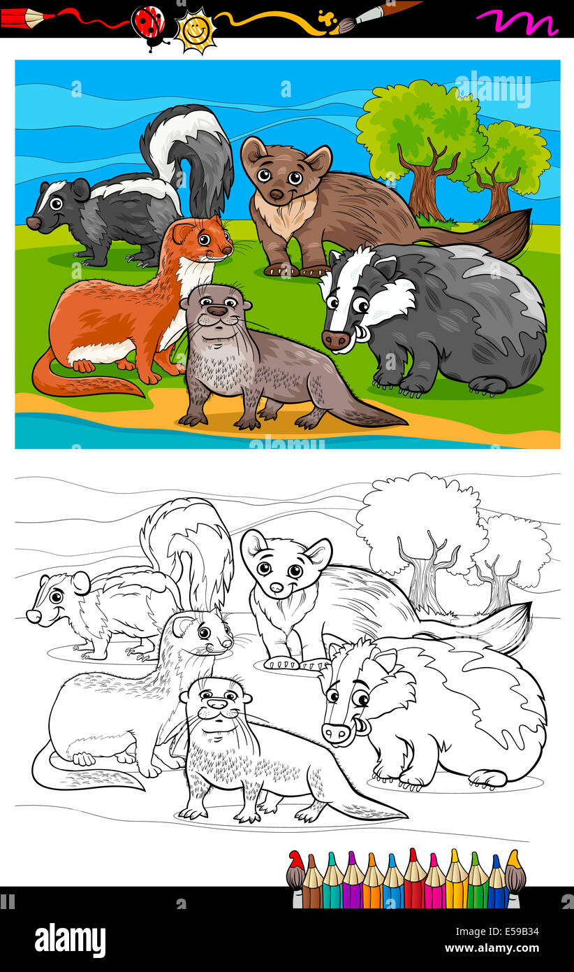 Coloring Book Oder Seite Cartoon Illustration Der Schwarz Weiß