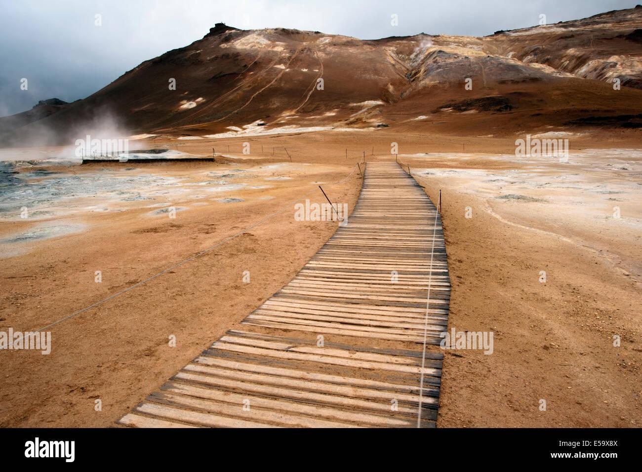 Promenade-Trail am Namafjall Hverir - Myvatn Region North Central Island Stockbild