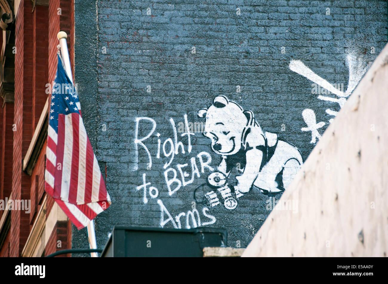 Recht, Arme Graffiti in Soho Manhattan New York City zu tragen Stockbild