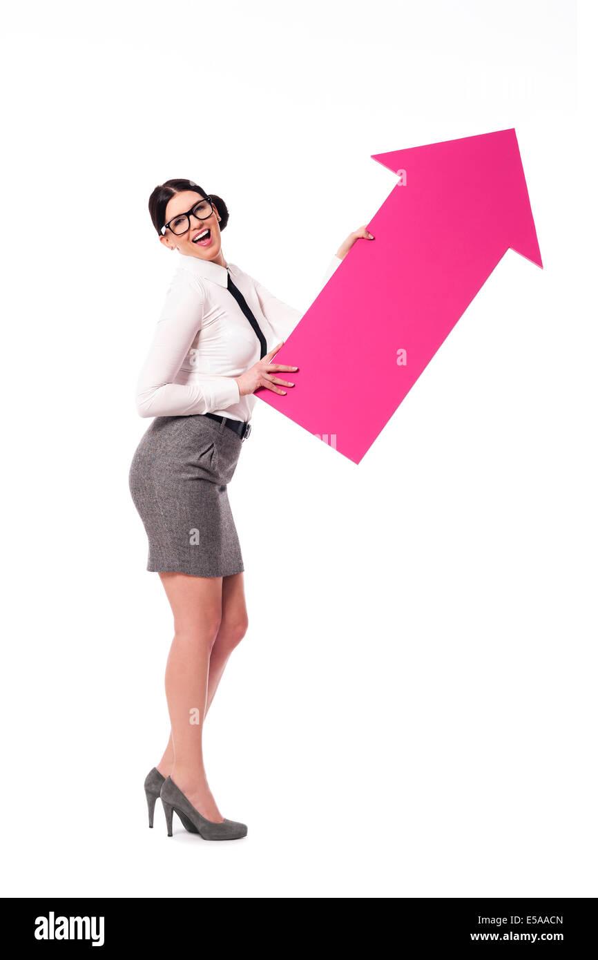 Geschäftsfrau mit Pfeil-Symbol, Debica, Polen Stockbild