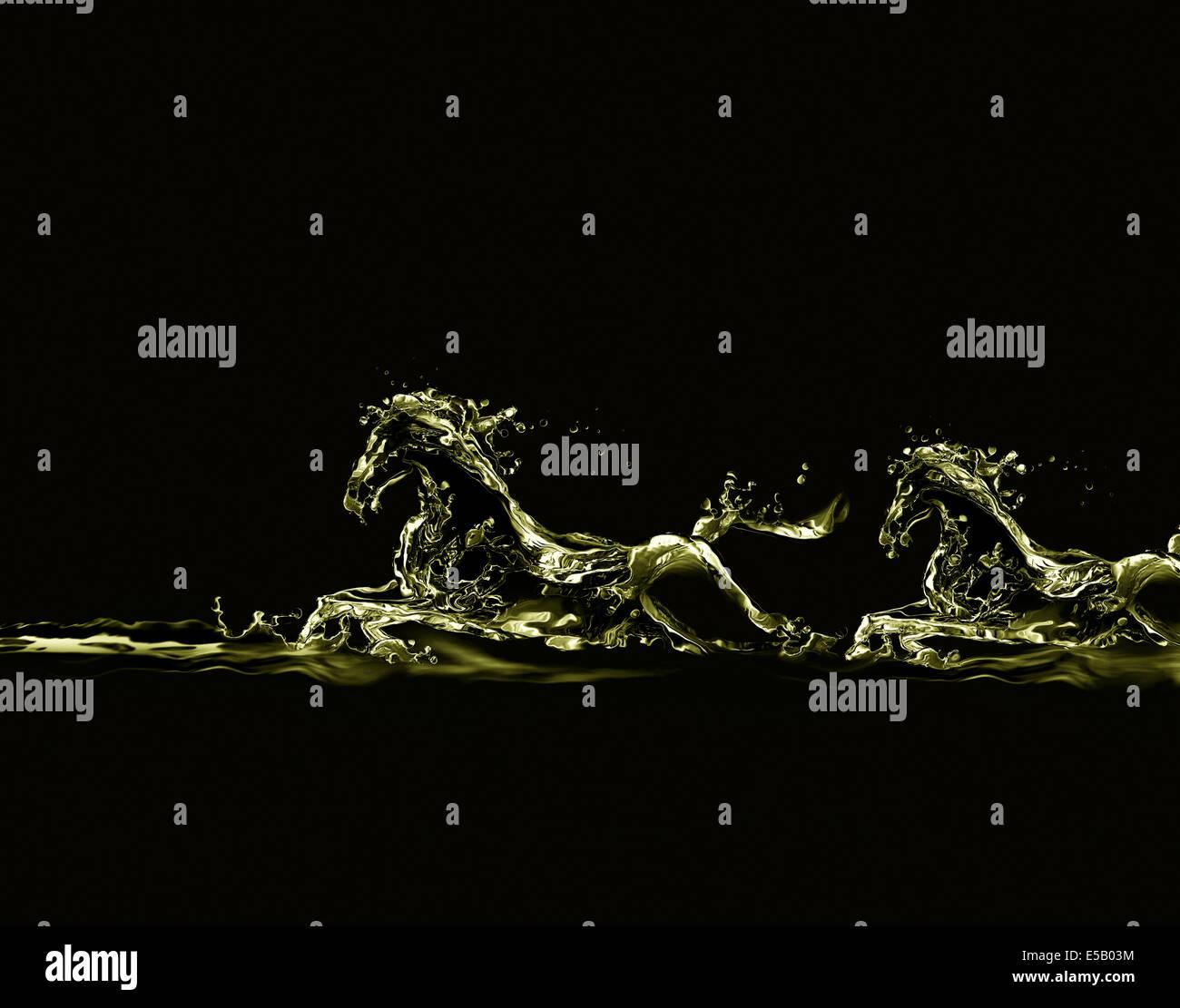 Silhouetten von zwei laufende Pferde hergestellt aus flüssigem Gold auf schwarz. Stockbild
