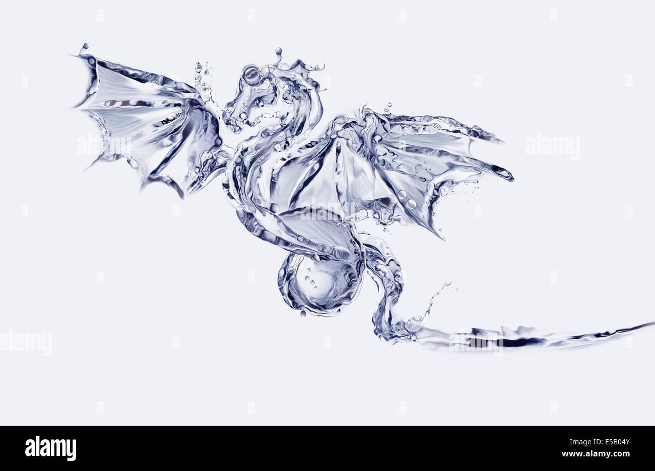 Ein blaue fliegenden Drachen aus Wasser gemacht. Stockbild