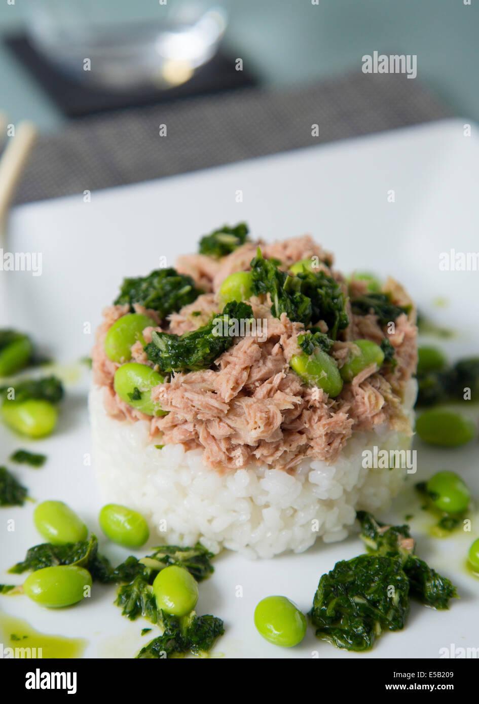 Teller mit Thunfisch mit Aufstieg und Edemame Bohnen Stockbild