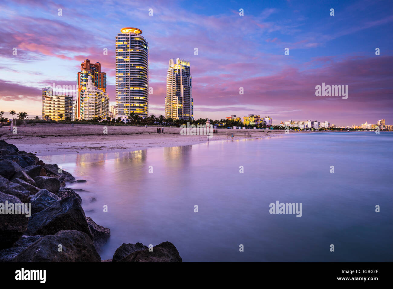 Miami, Florida, USA am Südstrand. Stockbild