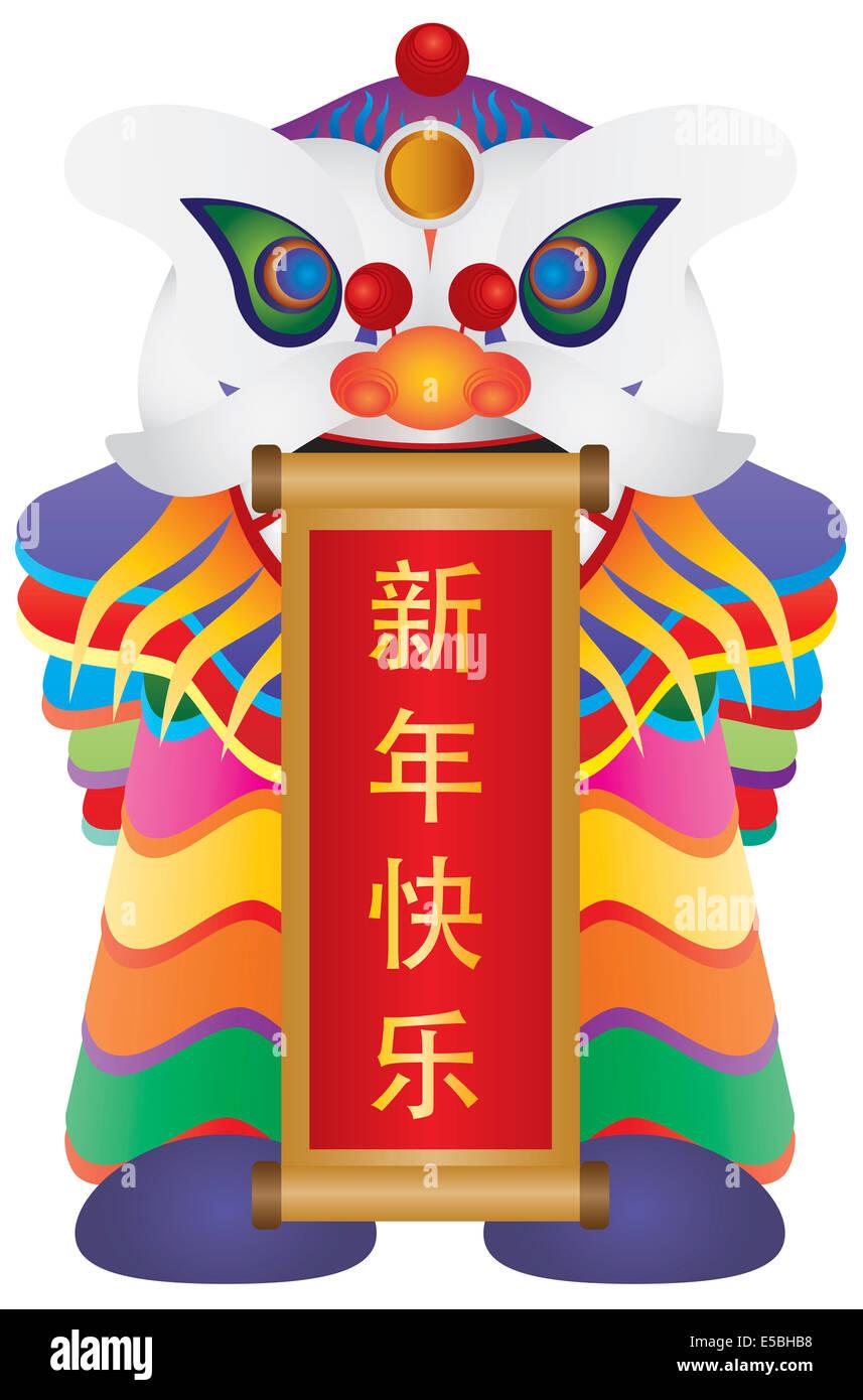 Chinese New Year bunte Löwentanz hält Schriftrolle mit chinesischem ...