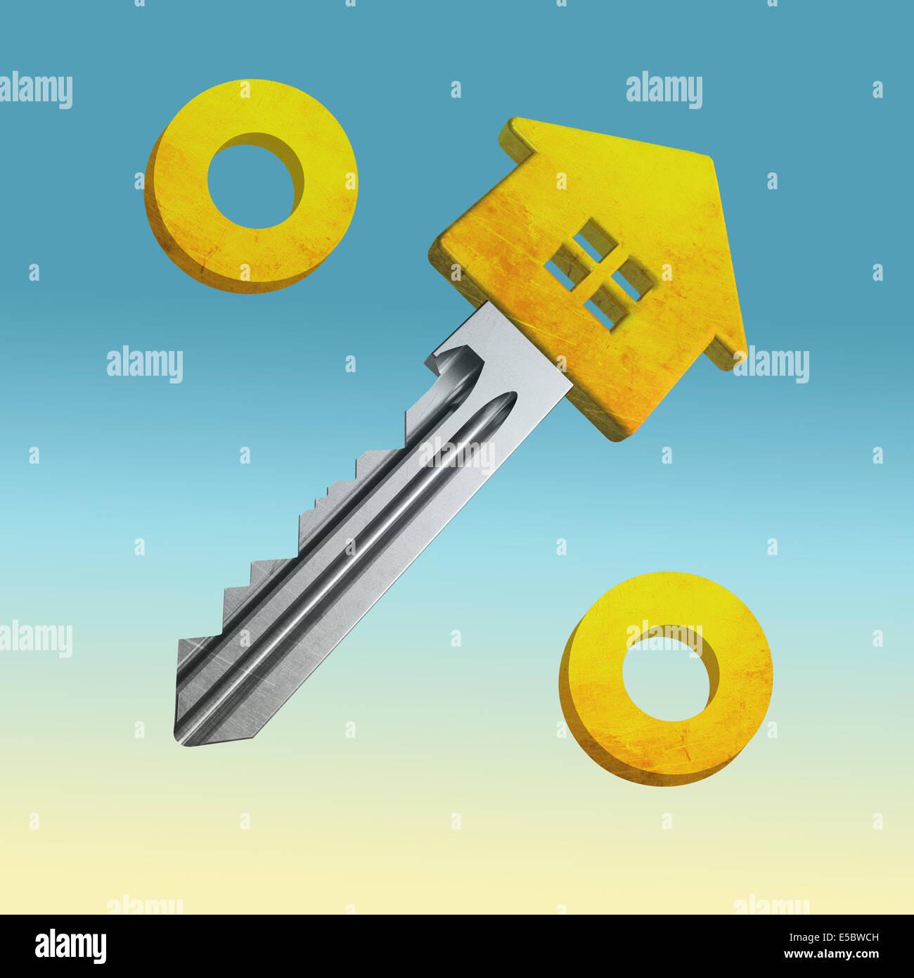 Anschauliches Bild von Prozentzeichen hergestellt aus Haus und Schlüssel für Wohnungsbaudarlehen Stockbild