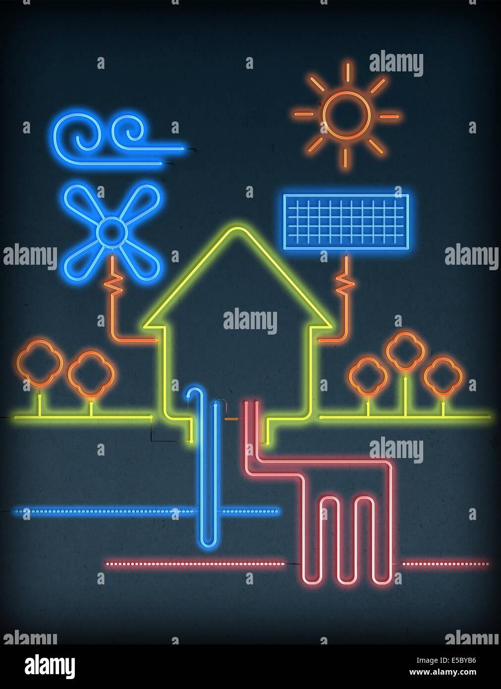 Außenillustration Haus verbunden mit natürlichen Energieressourcen auf grauem Hintergrund Stockbild