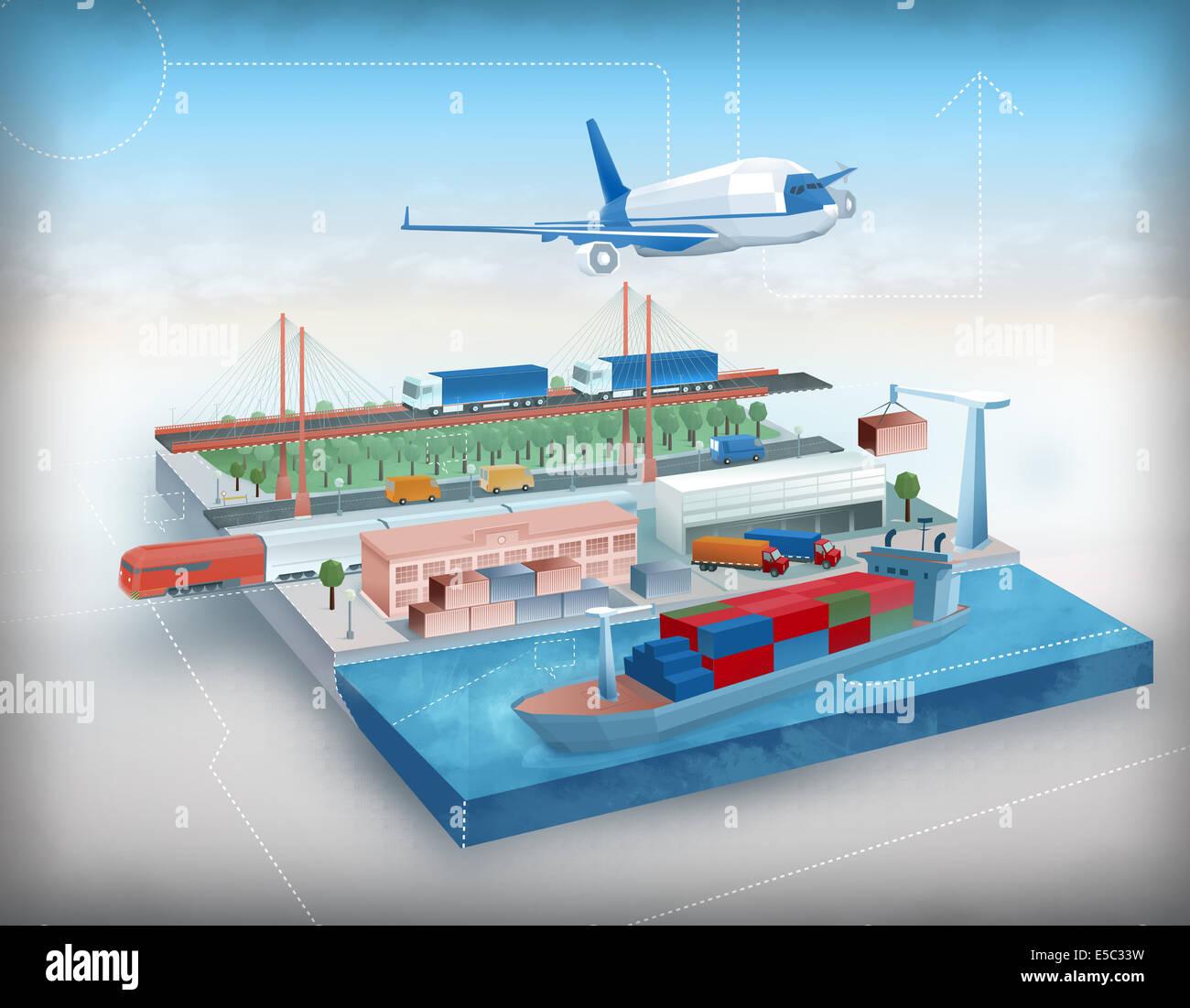 Darstellung der globalen Reisekonzept Stockbild