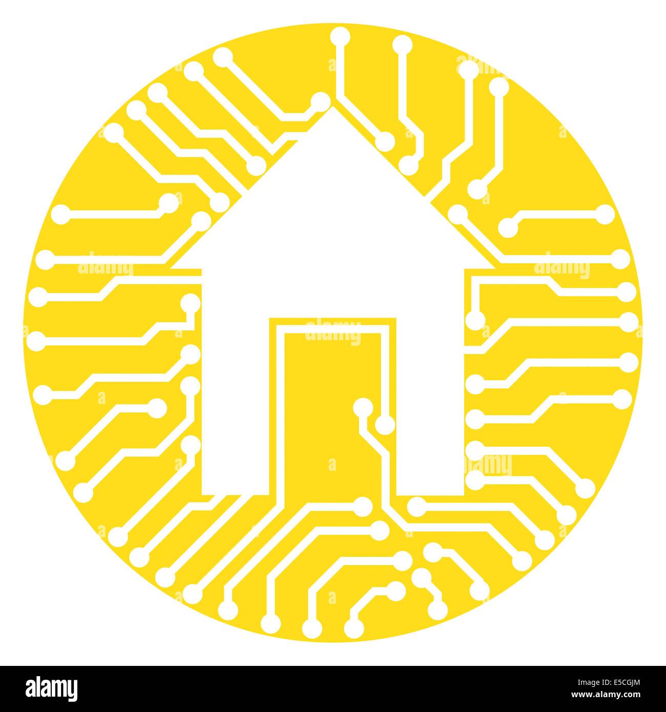 Home-Symbol konzeptionelle Darstellung der Schaltungen verbunden mit einem Haus-Symbol in einem gelben Kreis isoliert Stockbild