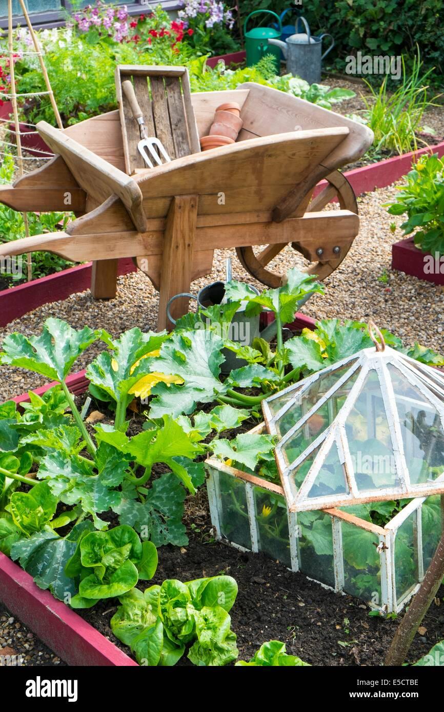 Blick Auf Kleine Hochbeet Pflanzen Auch Zucchini Salat Und Outdoor