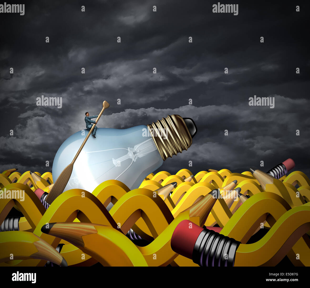 Probleme kreativ lösen und Business Management-Konzept als Geschäftsmann sitzt auf einer Glühbirne Stockbild