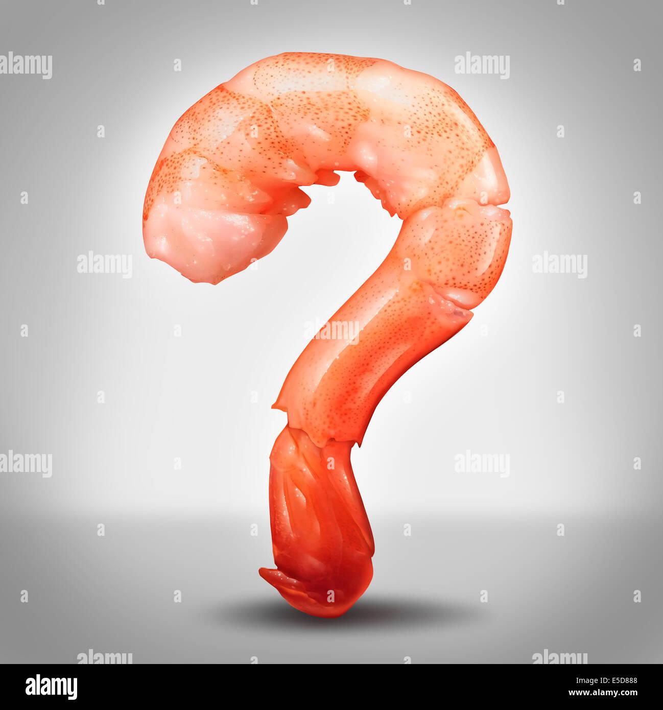 Meeresfrüchte-Fragen-Konzept als eine Garnele in einer Nahaufnahme in Form von einem Fragezeichen als Symbol Stockbild