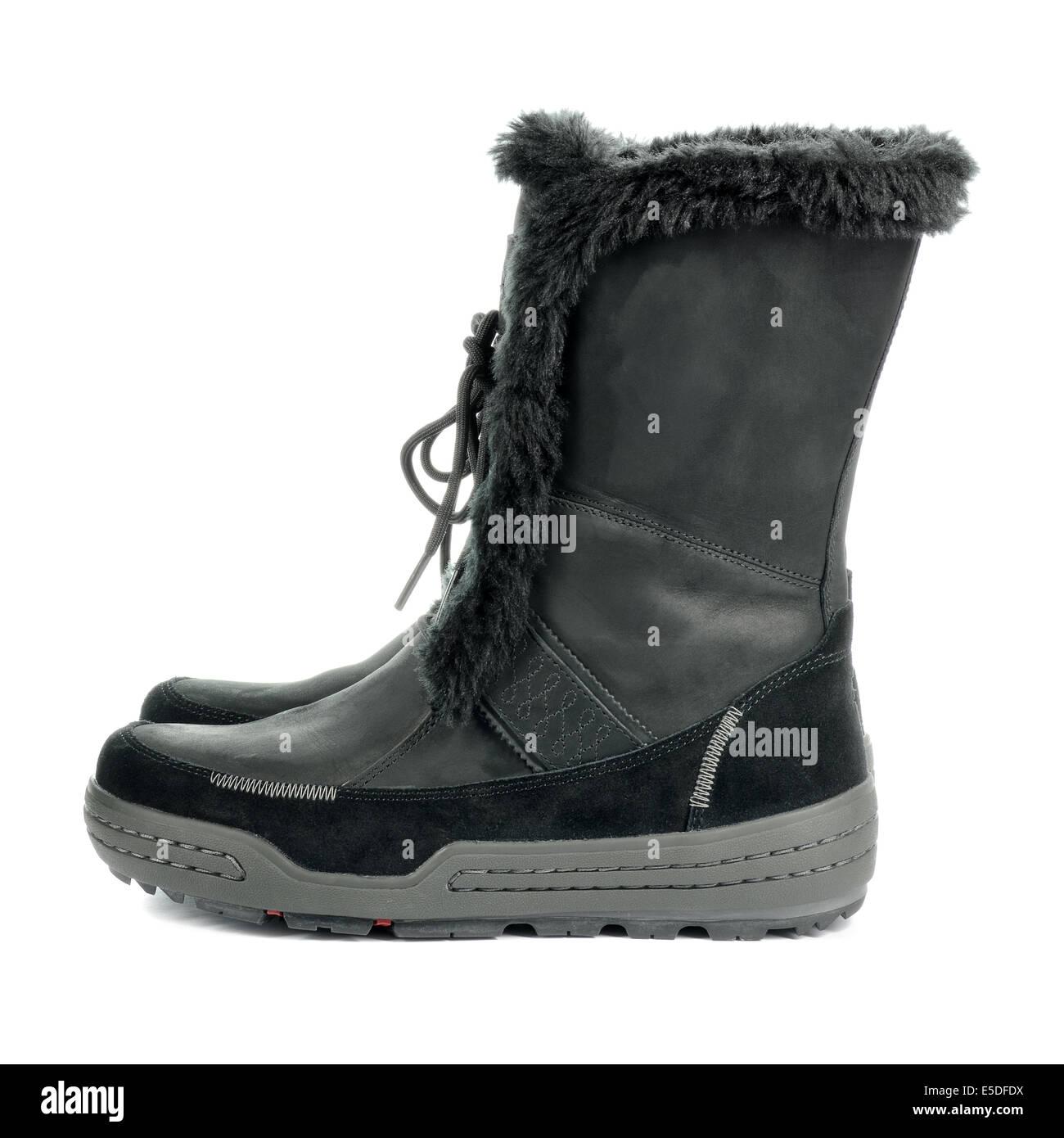 Schwarze warme feminine Stiefel. Winter Schuhe isoliert auf weißem  Hintergrund. Stockbild 0cfa243486