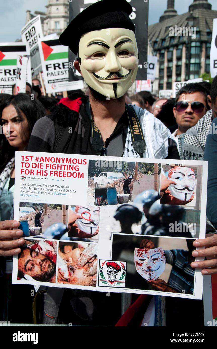 """Demonstration gegen die israelische Bombardierung des Gazastreifens, 26.07.2014. Ein Demonstrant mit einer """"anonymen Stockbild"""