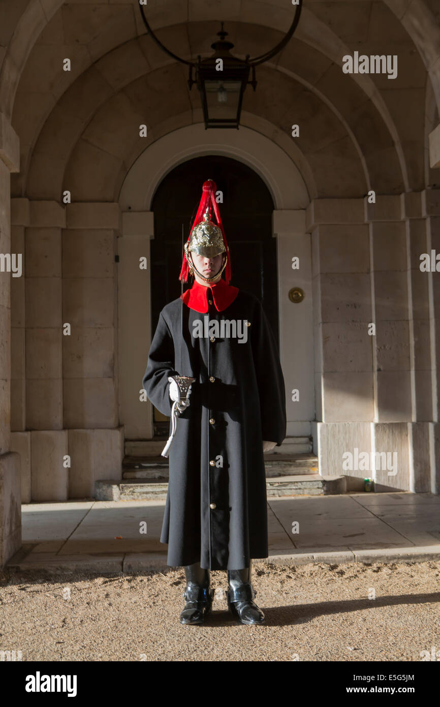 Europa, UK, England, London, Westminster, Whitehall, Horse Guards Parade, Horse Guards Gebäude, Blues und Royals Stockbild