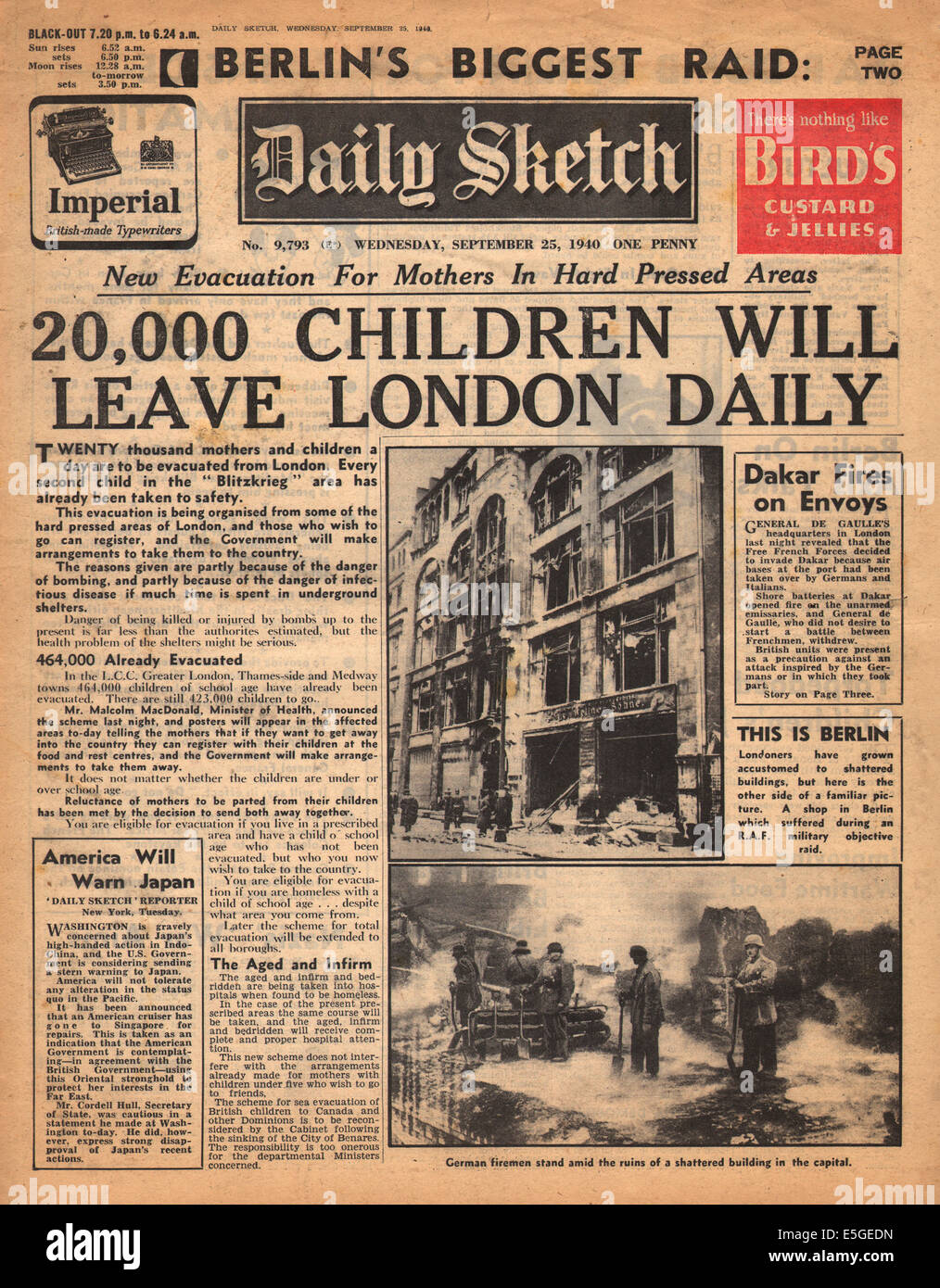 1940 daily Sketch Titelseite Berichterstattung die Evakuierung von ...
