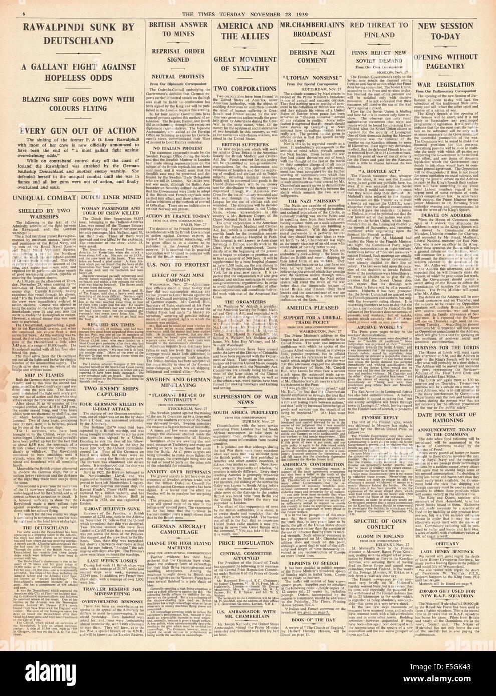 1939 der Zeiten Seite 6 Berichterstattung Händler Kreuzer HMS Rawalpindi versenkt durch Schlachtkreuzer Scharnhorst Stockbild