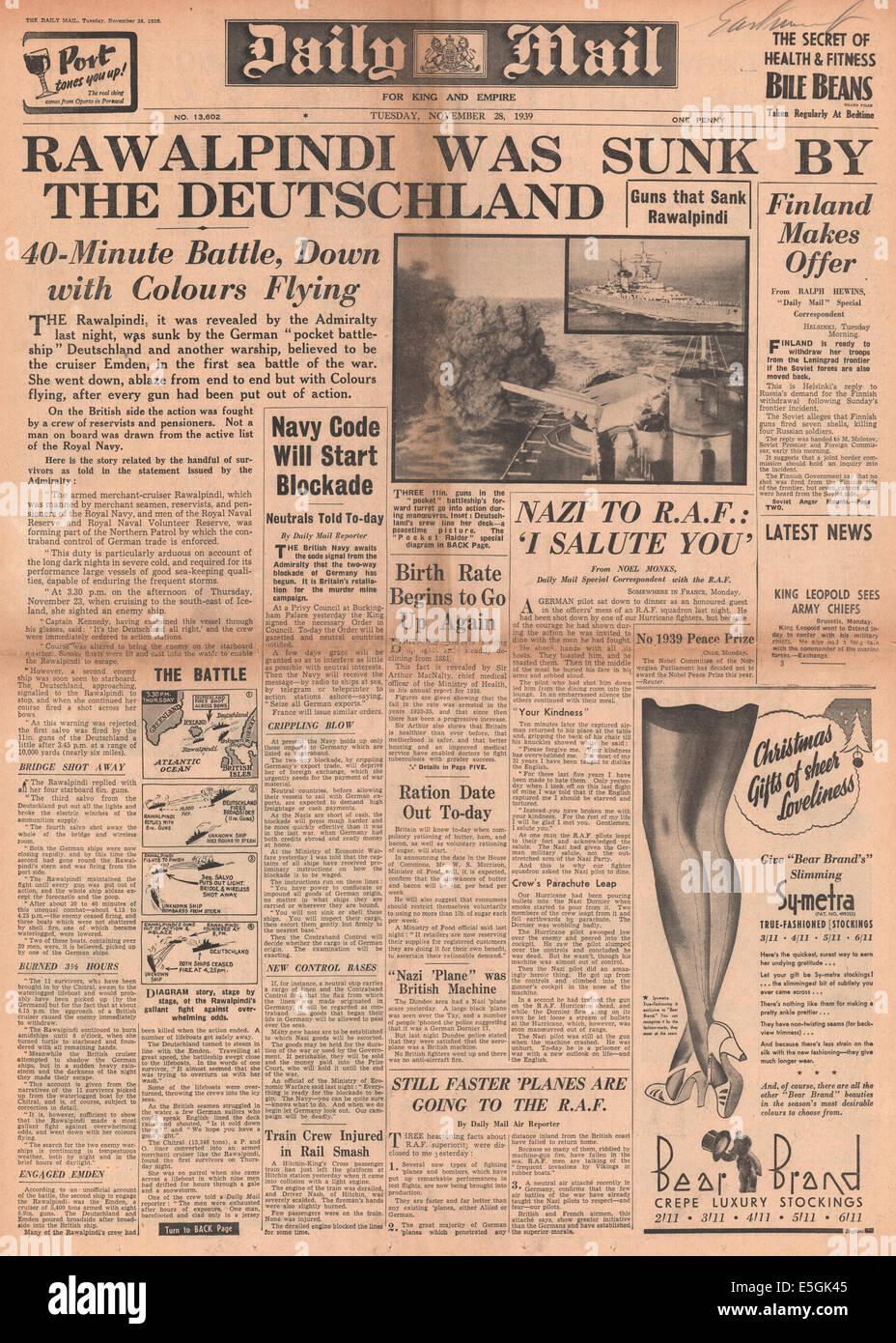 1939 Tagespost Titelseite Berichterstattung Händler Kreuzer HMS Rawalpindi versenkt durch Schlachtkreuzer Scharnhorst Stockbild